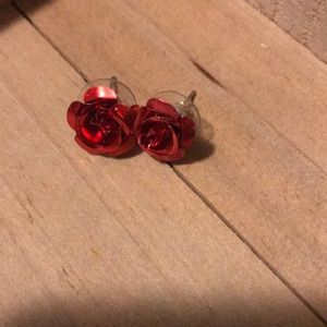 Red Rose Earring posts